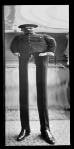 Fancy portrait of a soldier in a distorting mirror